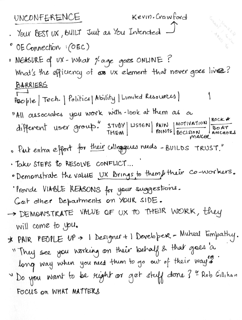 notes about best ux talk